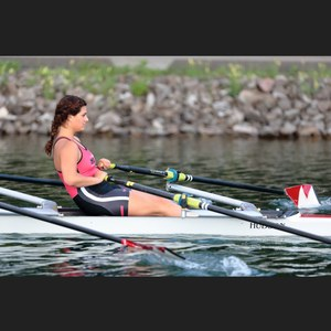 Female rowing at the Olympic Basin