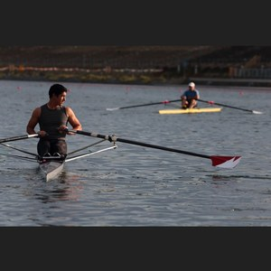 Male rowing at the Olympic Basin