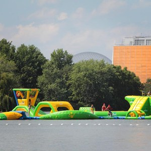 Aquazilla inflatable water games at Parc Jean-Drapeau